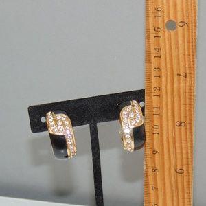 Vtg Swarovski Crystal Black Enamel Hoop Earrings